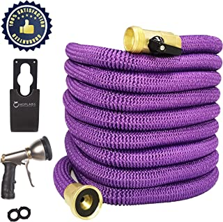 Purple Expandable Garden Hose 50ft Wall Mountable Garden Hose with Spray Gun collapsible Hose Includes Carry Bag, Metal Spray Gun, Hose Hanger ,2 bonus washers - Flexible Garden Hose for Watering