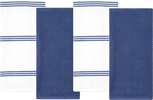 Sticky Toffee Cotton Terry Kitchen Dish Towel, 4 Pack, 28 in x 16 in, Dark Blue Stripe