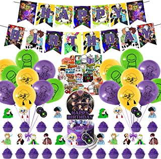 94Pcs Dream Team SMP Birthday Party Supplies, SMP Theme Cute Party Decorations for Kids Adults with Happy Birthday Banner ...