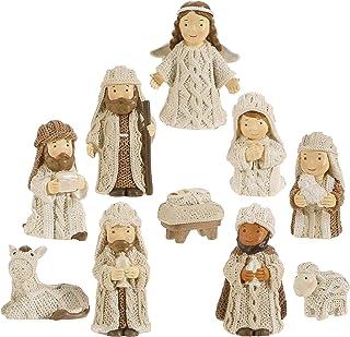 RAZ Imports Knit Look Resin 3 Inch Miniature 10 Pc Nativity Set