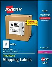 Avery Shipping Address Labels, Laser Printers, 100 Labels, Full Sheet Labels, Permanent Adhesive, TrueBlock (5165), White