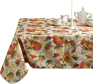 "European Fall Harvest Pumpkins and Autumn Leaves Printed Tablecloth - 60"" x 102"""