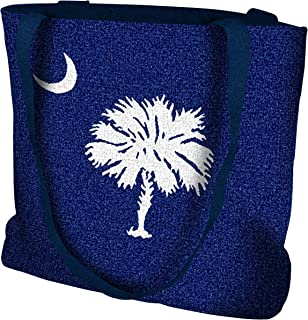 South Carolina Palmetto Moon Flag Hand Finished Large Woven Tote or Shoulder Bag with Magnetic Clasp 100% Cotton Double Sided Made in USA by Artisan Textile Mill Pure Country Weavers