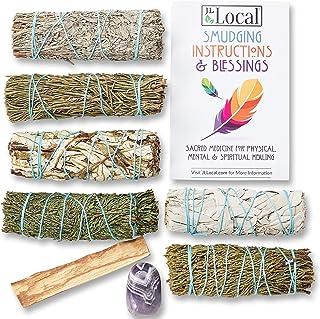 Sage Variety Pack - White Sage, Blue Sage, Yerba Santa, Cedar, Juniper & Palo Santo Smudge Sticks + Amethys...