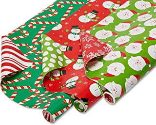 American Greetings Extra Wide Christmas Wrapping Paper, Santa, Snowmen and Candy Canes (3 Pack, 120 sq. ft.)
