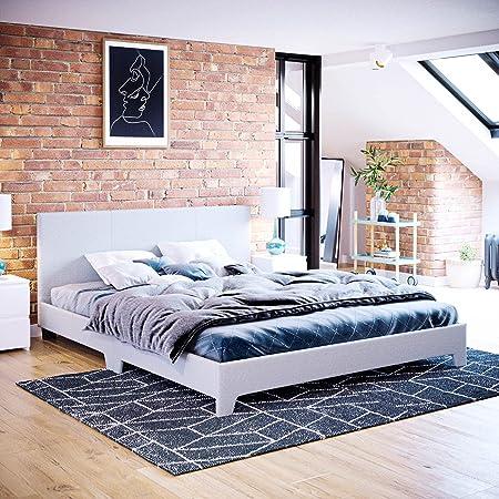Vida Designs Victoria King Size Bed, Cadre 5 pi, tête de lit rembourrée en Tissu, Meubles de Chambre à Coucher, Lin Gris Clair