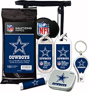 NFL Dallas Cowboys Gifts 6-Piece Fan Kits with Decorative Mint Tin, Nail Clippers, Hand Sanitizer, SPF 15 Lip Balm, SPF 30 Sunscreen, Sanitizer Wipes. Dallas Cowboys Gifts for Men and Women