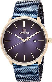 ساعة كلاسيكية انالوج بسوار ستانلس ستيل ومينا ازرق للرجال من نافي فورس - NF3012G-RGBE