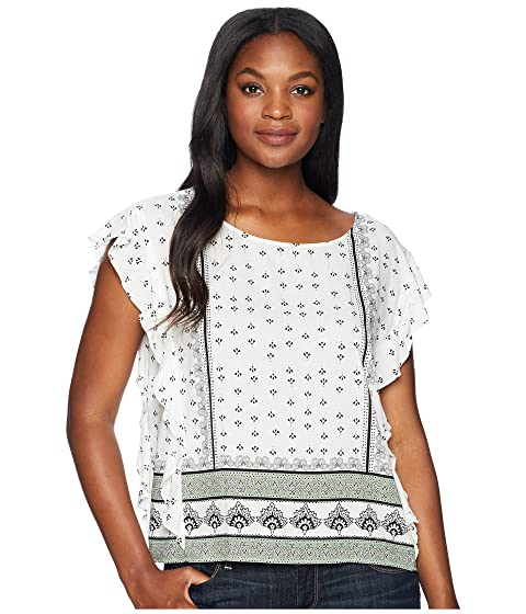 4787dc006ef Two By Vince Camuto Ruffle Sleeve Fan Geo Print Blouse