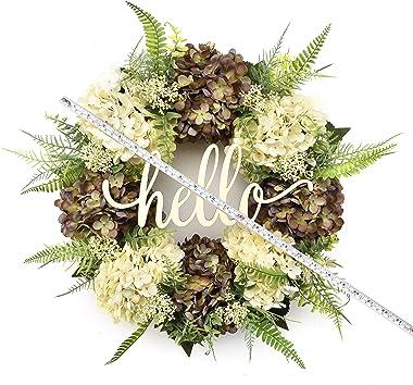 Hydrangea wreaths for front door,Outdoor summer wreaths for front door,Fall spring handmade Hello Wreath for Front Door,Farmh