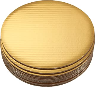 """10"""" Round Cake Boards - 12-Pack Cardboard Scalloped Cake Pizza Tart Circle Base Stands - 10 Inches Diameter, Gold Metallic"""