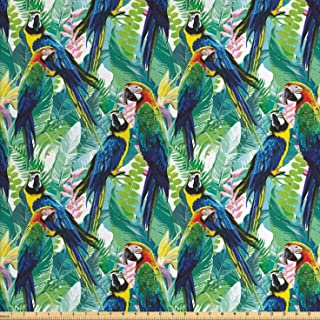 Lunarable Parrots Fabric by The Yard, Colorful Parrots Tropic Flowers Warm Weather Gardens Vacation Traveling, Decorative Fabric for Upholstery and Home Accents, 2 Yards, Indigo Green