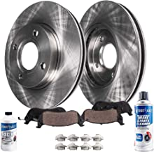Detroit Axle - Both Front Disc Brake Rotors w/Ceramic Pads w/Hardware & Brake Cleaner & Fluid for 2002 2003 2004 2005 Mitsubishi Lancer ES - [06-07 Lancer No ABS; Excluding EVOLUTION]