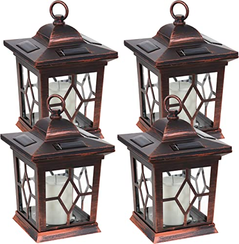 lowest Sunnydaze Lucien Outdoor Solar LED Decorative Candle Lantern - Rustic Farmhouse Decor online for Patio, Porch, Deck and Garden - Tabletop and Hanging Outside Light - Set of 4 - Copper discount - 9-Inch outlet sale