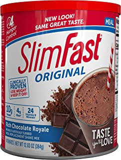 SlimFast Original Rich Chocolate Royale Meal Replacement Shake Mix – Weight Loss Powder – 12.83oz. – 14 servings - Pantry Friendly