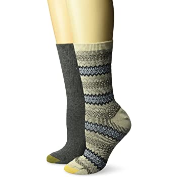Gold Toe womens Fairisle Ribbed Boot Crew Socks, 2 Pairs