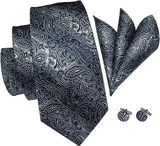 Mens Silver Black Grey Tie Pocket Square and Cufflinks Tie Set Gift Box