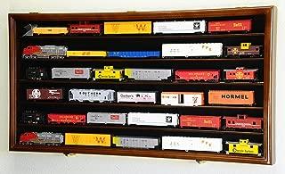 HO Scale Train Display Case Cabinet Wall Rack w/ UV Protection- Lockable -Walnut