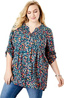 Women's Plus Size High-Low Pintuck Tunic