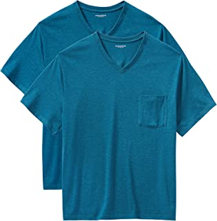 Amazon Essentials Men's Big & Tall 2-Pack Short-Sleeve V-Neck Pocket T-Shirts fit by DXL