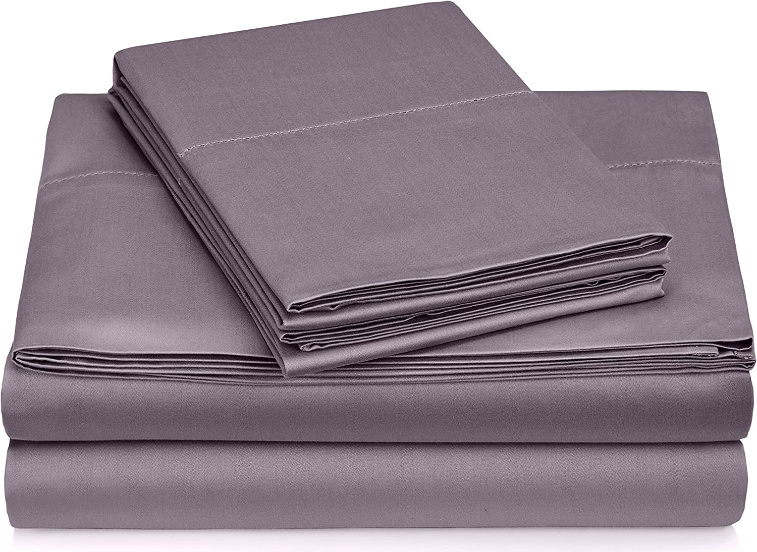 Pinzon 400-Thread-Count Egyptian Cotton Sateen Hemstitch Sheet Set - Cal King, Pale Purple