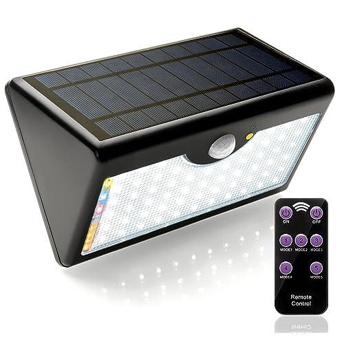 EcoSolarGLB Lámpara Solar 60 LED Luz Solar 1300 LM Focos Solares con Control Remoto y Sensor