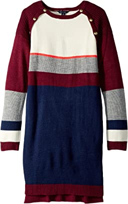 Tommy Hilfiger Kids - Yarn-Dye Raglan Button Sweater Dress (Big Kids)