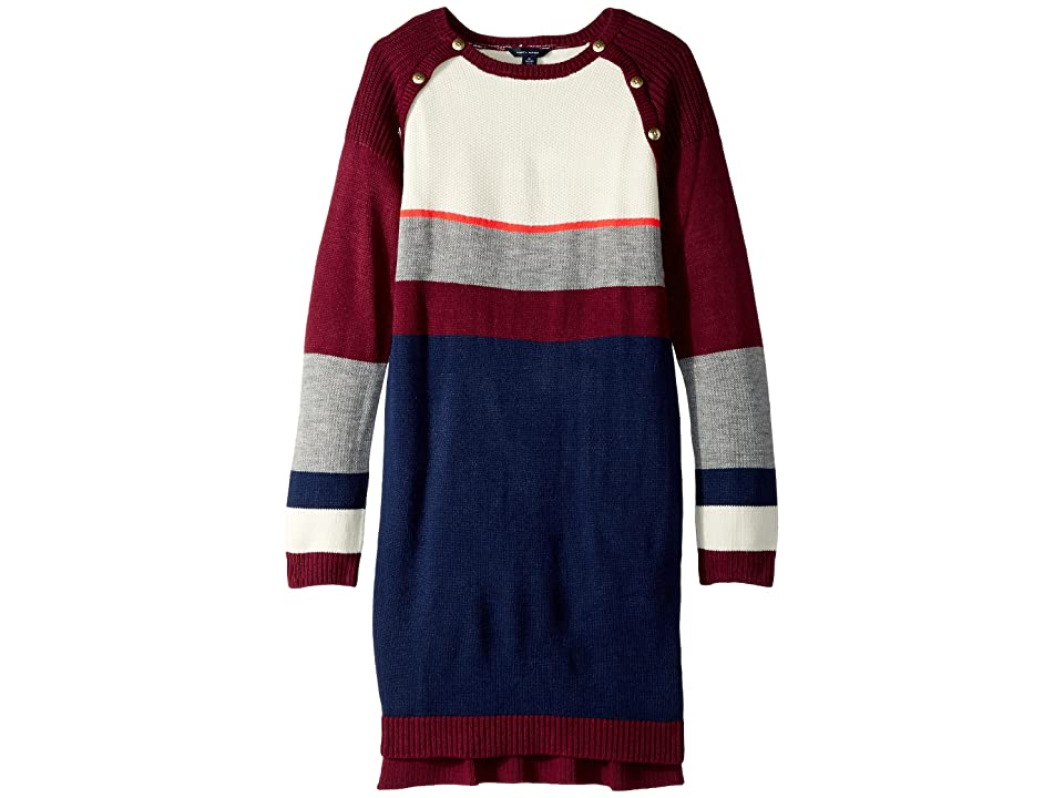 Tommy Hilfiger Kids Yarn-Dye Raglan Button Sweater Dress (Big Kids) (Cranberry Jewel) Girl