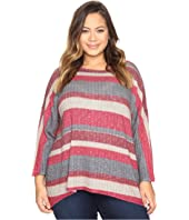 Nally & Millie Plus Size Burgundy Stripe Top