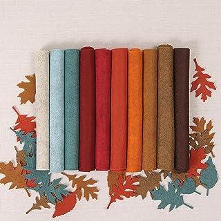 Wool Blend Felt, Harvest Moon Fall Autumn Colors, Ten 12x18 inch Sheets, Brown, Orange, Copper, red, Crimson, Blue, Cream