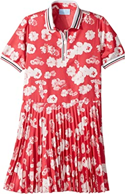 Lanvin Kids - Short Sleeve Floral Print Polo Dress with Pleat Skirt (Little Kids/Big Kids)