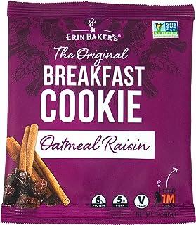 Erin Baker's Breakfast Cookies, Oatmeal Raisin, Whole Grain, Vegan, Non-GMO, 3-ounce (Pack of 12)