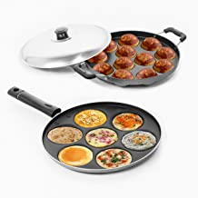 Sumeet Aluminium 7-Pieces Multi Snack Maker and 12-Piece Stainless Steel Grill Appam Patra (Silver)