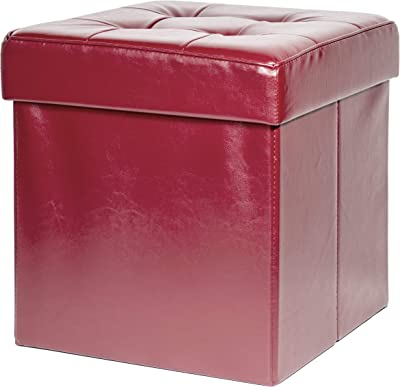 Red Co. Faux Leather Burgundy Square Luxury Storage Ottoman with Padded Seat, Upholstered Collapsible Folding Bench & Foot Rest, 15 Inches