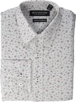 Stripe Floral CVC Stretch Dress Shirt