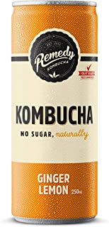 Remedy Raw Kombucha Tea - Sparkling Live Cultured Drink - Sugar Free Ginger Lemon - 250ml Can, 24-Pack