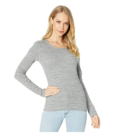 Splendid 1x1 Rib Classic Long Sleeve Crew Neck Tee (Gravel Heather Grey) Women