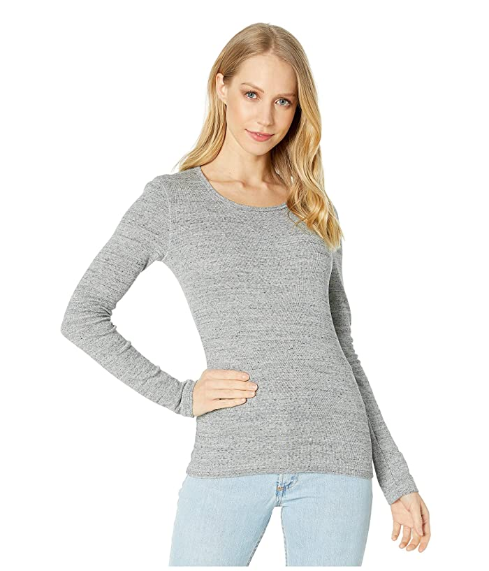 Splendid  1x1 Rib Classic Long Sleeve Crew Neck Tee (Gravel Heather Grey) Womens Long Sleeve Pullover