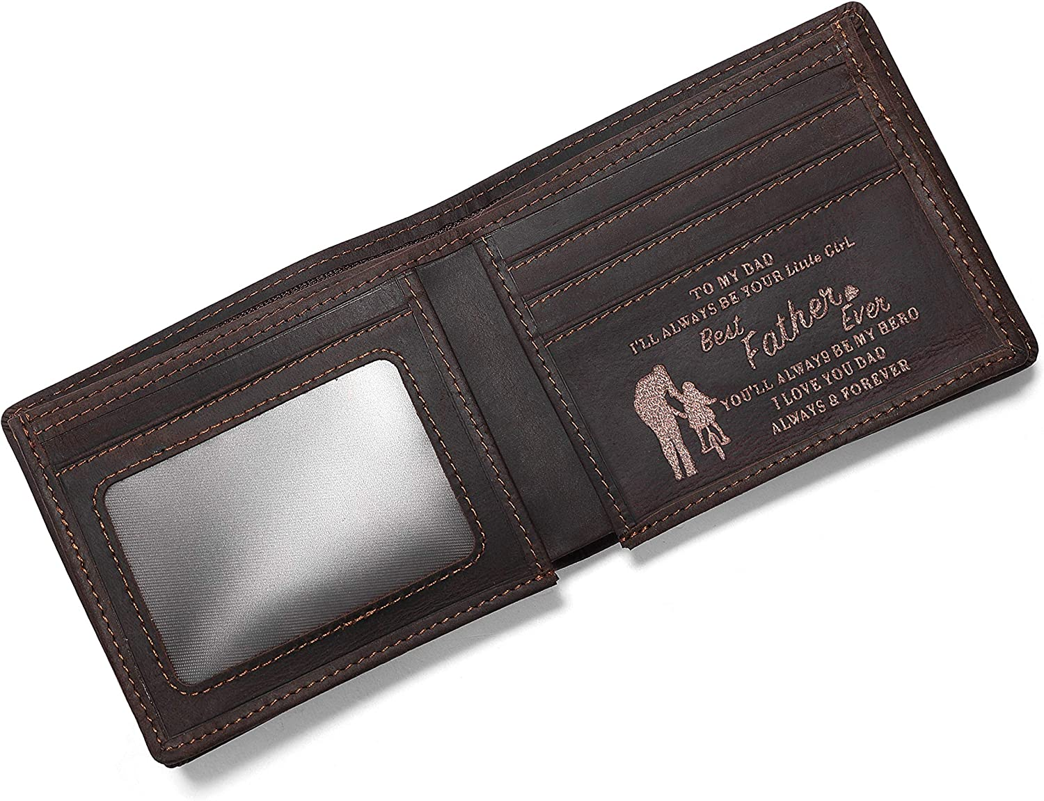 Personalized Engraved Leather Wallet for Dad from Daughter - Perfect for Birthday Fathers Day Thanksgiving Christmas - I Love You - Mens Custom Bifold Wallets for Him with Romatic Message