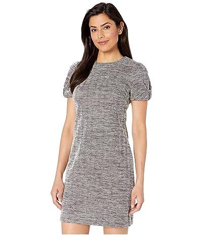 Calvin Klein Ponte Dress with Knot Sleeve Detail (Black/Cream) Women