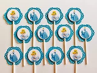 CINDERELLA Cupcake Toppers - Party Picks - Disney - Set of 12