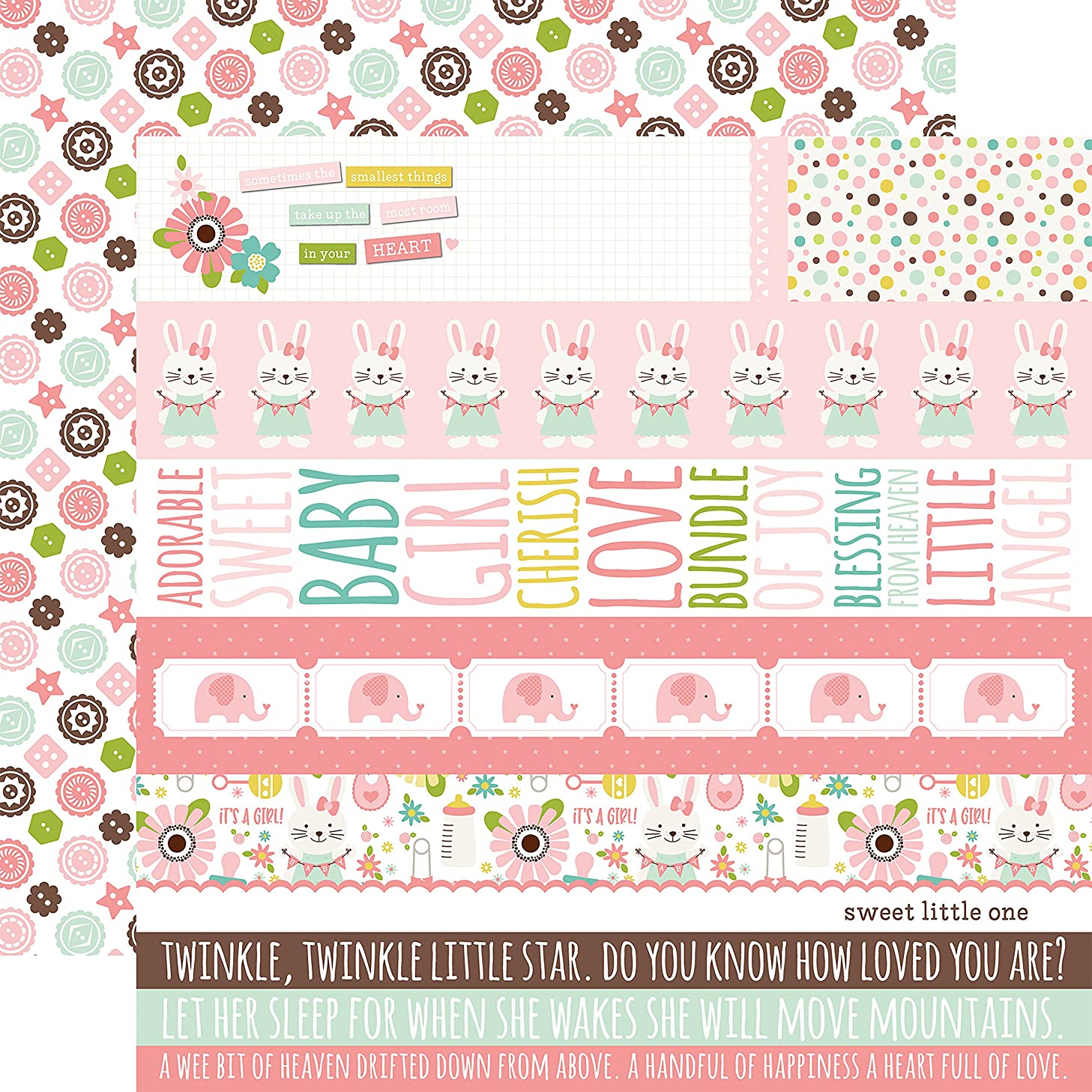 Echo Park Paper Border Strips/Diagonal Flowers Sweet Baby Girl Double-Sided Cardstock 12