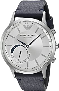 Emporio Armani Men's ART3003 Blue Leather Connected Hybrid Smartwatch