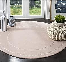 Safavieh Bella Collection BEL151M Handmade Light Pink and Ivory Premium Wool Round Area Rug (5' Diameter)