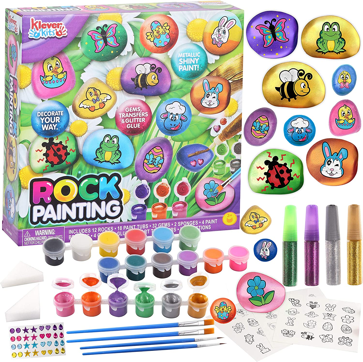 Klever Kits JOYIN 12 Rock Painting Kit, Spring Crafts for Kids, Creativity Arts&Crafts DIY Supplies with 18 Paints Decorate Your Own for Kids, Painting Gifts Family Activity Birthday Present