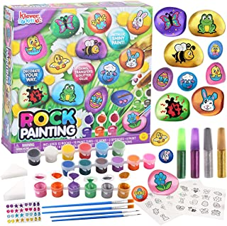 Klever Kits 12 Rock Painting Kit Easter Spring Creativity Arts&Crafts DIY Supplies with 18 Paints Decorate Your Own for Ki...