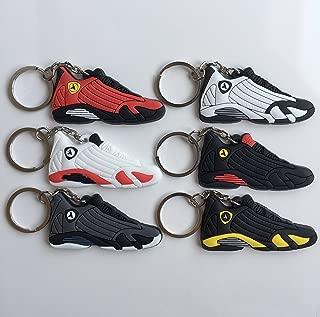 Jordan Retro 14 Sneaker Keychain Pack Ferrari Black Toe Candy Cane Last Shot Graphite Thunder Shoes Keyring AJ 23 OG