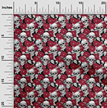 oneOone Cotton Cambric Red Fabric Floral & Skull DIY Clothing Quilting Fabric Print Fabric by Yard 42 Inch Wide