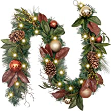Valery Madelyn Pre-Lit 72 Inch Woodland Christmas Garland with Glittery Ball Ornaments and Pine Cones, Battery Operated 20 LED Lights