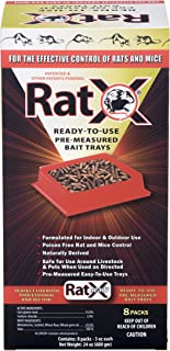 EcoClear Products 620106, RatX All-Natural Non-Toxic Humane Rat and Mouse Killer Pellets, Ready-To-Use Pre-Measured 3 oz. Bait Trays, 8-Pack